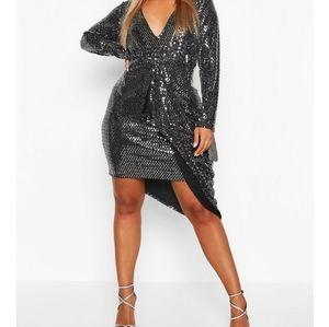 Boohoo Plus Metallic Plunge Drape Midi Dress